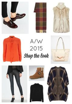 Autumn winter high street fashion 2015 trends - fur, check, 70s, brogues, leather trousers, knit wrap, suede boots, tote bag, pussybow blouse