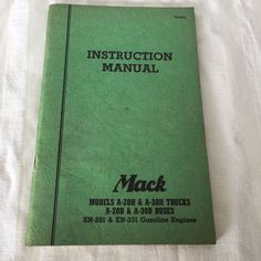 Mack Truck Instruction Manual Models A 20 H 30 H Buses Gasoline Engines