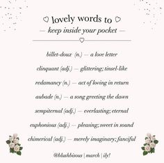 Creative Writing Tips, Book Writing Tips, Writing Words, Writing Prompts, Unusual Words, Rare Words, Words To Use, New Words, Pretty Words