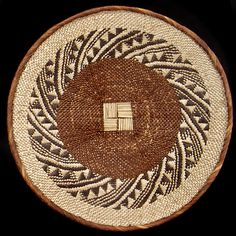 Africa | Handwoven basket from Zimbabwe's Tonga/Binga peoples with abstract designs in tan and brown