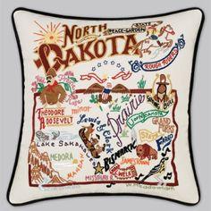 North Dakota embroidered pillow