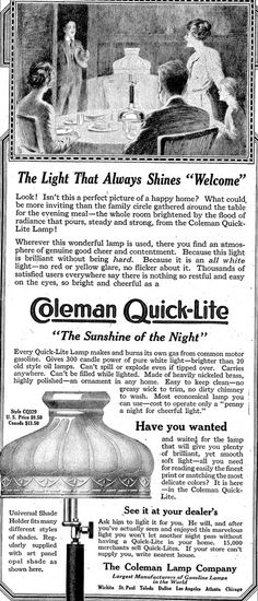 "Coleman Quick-Lite, ""The Sunshine of the Night"""
