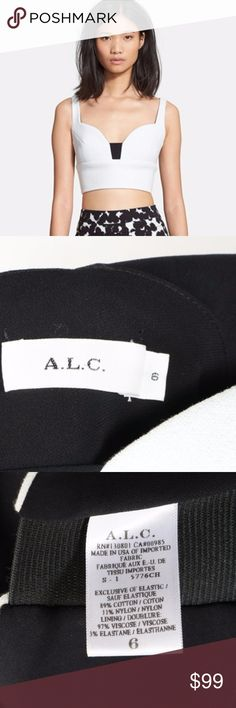 """A.L.C. White and Black Morley Bustier Crop Top Sz Color: white. Sz: 6. An on-trend crop top offers a curve-sculpting fit highlighted by a contrast panel at the base of the molded sweetheart neckline. 14 1/4"""" length.Exposed back-zip closure.Partially lined. 89% cotton, 11% nylon.Dry clean.By A.L.C.; made in the USA of Italian fabric. I also have a matching skirt for sale, listed and sold separately, let me know if you are interested on both and I can combine shipping.*** I Post Pictures and…"""