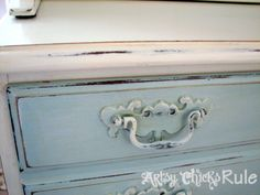 Chalk Painted (garage sale $35) Hutch...distressed. Hardware Painted and distressed also.