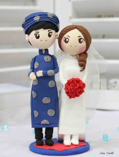 Vietnam Traditional Elegant Ao Dai Wedding cake topper clay doll, Engagement party decoration clay figurine, Bridal shower clay miniature