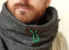 Snock™, unisex cowl scarf, oversized cowl, scarf in dark grey herringbone & cotton/fleece lining, neck warmer, tube scarf, winter cowl