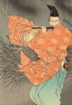 "Tsukioka Yoshitoshi (1839–1892), Prints of the Painting ""Fujiwara Yasumasa Plays the Flute by Moonlight"" . Woodblock print on paper, 1883"