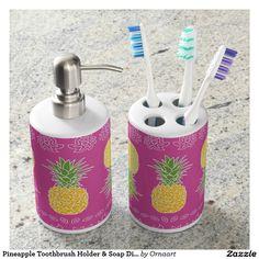 Pineapple Toothbrush Holder & Soap Dispenser Set