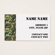 Camouflage camo green brown pattern mini business card colourmoves
