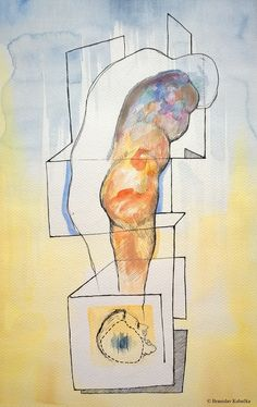 """""""Shower"""", watercolors and ink on paper."""