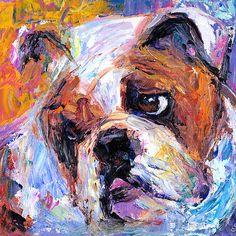 Bulldog dog painting Svetlana Novikova