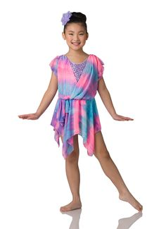 Leotard With Attached Dress: Lavender sequin spandex, multi-colored watercolor printed chiffon, and lavender spandex ; Modern Contemporary Dance, Contemporary Dance Costumes, Jazz Shoes, Dance Tights, Flower Headpiece, Ballet Costumes, Dance Leotards, Beautiful Mess, Print Chiffon