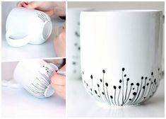 Pottery Painting, Ceramic Painting, Ceramic Art, Porcelain Painting Ideas, Diy Becher, Keramik Design, Painted Plant Pots, Diy Mugs, Pottery Gifts