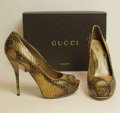 613a141bbed Details about GUCCI Python Snakeskin Peep Toe Stiletto Heels Pumps   Shoes  - Size EU 40 - UK 7
