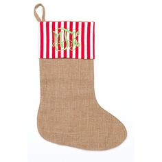 Burlap Monogrammed Christmas Stockings  by charleyjoscreations2
