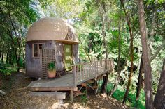 Mushroom Dome Cabin In Santa Cruz Hood: Aptos, CA Price: $110 per night  Mario might be a little jealous of this one, and not just because it's on a whole 'nother level. Deep within Aptos, there's a mushroom-shaped cabin surrounded by oak and madrone trees. This totally unique spot is supposedly the number-one listing on Airbnb, and we're lucky to have it right in our backyard.