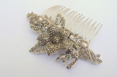 Marcasite comb made to complement silver beading on wedding dress and swirl design on shoes - by the Lucky Sixpence