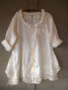 Tunique Bohême romantique upcycled vêtements par lillienoradrygoods
