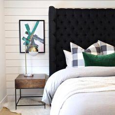 Buffalo check pillows w/emerald green — STUDIO MCGEE