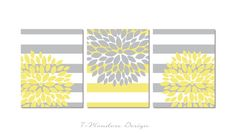 Contemporary & Classy Floral Bursts on Large Nautical Style Stripes - An Awesome Trio! Designed with a White background & Soft Yellow and Grey