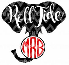 Alabama Monogram Elephant Roll Tide Inspired SVG Cut File Popular Football and Collegiate SVG Cutting Files by SouthernCharmPaperie on Etsy