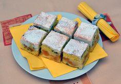 """Řezy zvané """"Skvrny na slunci"""": Připravíte je v jediném pekáči! Sushi, Sandwiches, Sweets, Cheese, Baking, The Originals, Cake, Ethnic Recipes, Food"""