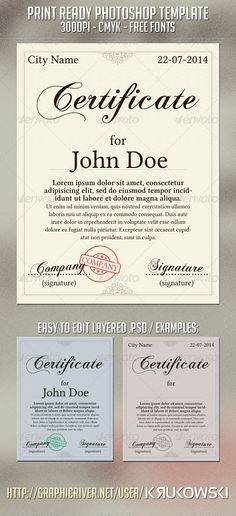 935 best Certificate Templates images on Pinterest   Certificate     Buy Certificate Template by Krukowski on GraphicRiver  Certificate Template  PSD Print Template  Easy to edit layered psd file Only free fonts All  images are