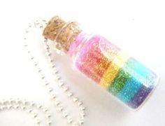Rainbow fairy dust... in tiny glass vial necklace