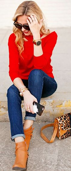 Red Sweater Fall Streetstyle Inspo by A pInch Of Lovely