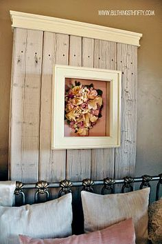 Love this whitewashed barnwood wall accent!  Would also make a great headboard!  Tutorial http://www.allthingsthrifty.com/2010/03/tutorial-how-to-whitewash.html