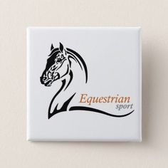 equestrian sport pinback button - logo gifts art unique customize personalize