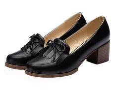 YSLY Women Fashion Loafer Walk Shoe Chunky Heel Dress Shoe (Black/Beige) -- For more information, visit image link.