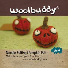 Needle Felting Pumpkin kit, Halloween crafts