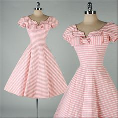 Vintage Fashion: ➳ vintage dress * pink mid-weight woven cotton * white striped details * muslin lined skirt * metal back zipper * by Suzy Perette Vintage 1950s Dresses, Retro Dress, Vintage Outfits, Vintage Clothing, Vintage Wear, Fifties Fashion, Retro Fashion, Vintage Fashion, Club Fashion
