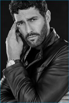 Noah Mills is the man of the season as he reunites with Massimo Dutti for a stylish editorial. The top model appears in black & white images to showcase the… Moustache, Noah Mills, Canadian Men, Sexy Beard, Photography Poses For Men, Hot Actors, Monochrom, Older Men, Male Beauty