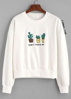 White Letter And Cactus Embroidered Sweatshirt