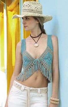 Ravelry: # 43 Waistcoat in Turquoise with Fringes pattern by Lana Grossa