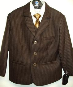 This Boys Brown Striped Suit comes as a 5 piece set that includes a shirt pants vest jacket and tie.