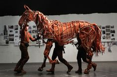 """""""Joey"""" life size horse puppet from theatrical production of Warhorse. Puppets by Handspring Puppet company. Image © Steve Russell/ Toronto Star."""