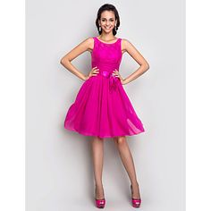 TS Couture® Cocktail Party / Holiday /  Dress - Fuchsia Plus Sizes / Petite A-line Scoop Knee-length Stretch Satin – USD $ 99.99