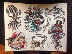 Nautical traditional tattoo flash III by DerekBWard on Etsy
