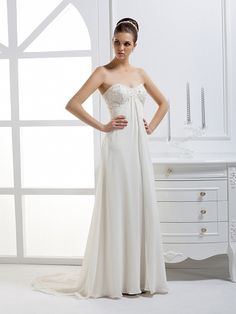 2013 Fall Sweetheart Chiffon bridal gown with Empire waist