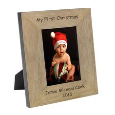 Celebrate your baby's 1st Christmas with our personalised wooden photo frames.  Choose from 4x6 or 5x7 and either portrait or landscape.  Other designs available - all with free delivery.