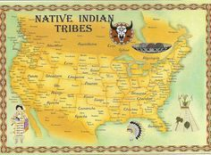 American Indians And First Nations Territory Map With Several