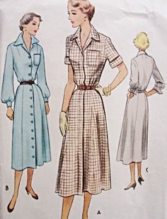 Classic 1950s Shirt Dress Pattern McCalls 8137 Front Button Wing Collar 3 Style Versions Bust 34 Vintage Sewing Pattern