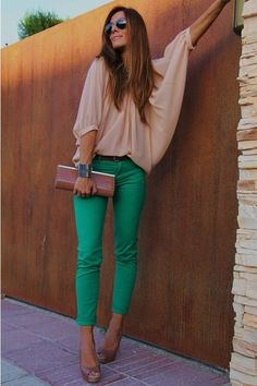 Emerald Green Skinnies & Blush Blouse