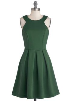 Splendid Something Dress - Mid-length, Faux Leather, Knit, Green, Gold, Solid, Cutout, Party, Cocktail, Sleeveless, Scoop