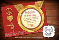 Red Kid's Peace Love Gymnastics Birthday Party Invitation with Glitter Printable