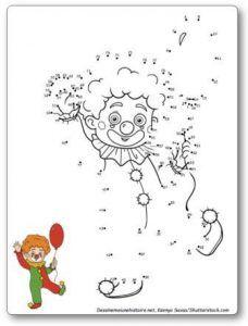 Points à relier pour enfants sur le thème du cirque : monocycle, éléphants, otarie et clown. Relier les points entre eux et faites apparaitre de jolis dessins à colorier. points à relier pour enfants