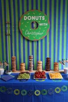 Doughnut Birthday Party, Donuts, Donut Stand, Banner, Sign, Blue and Green, 4th Birthday